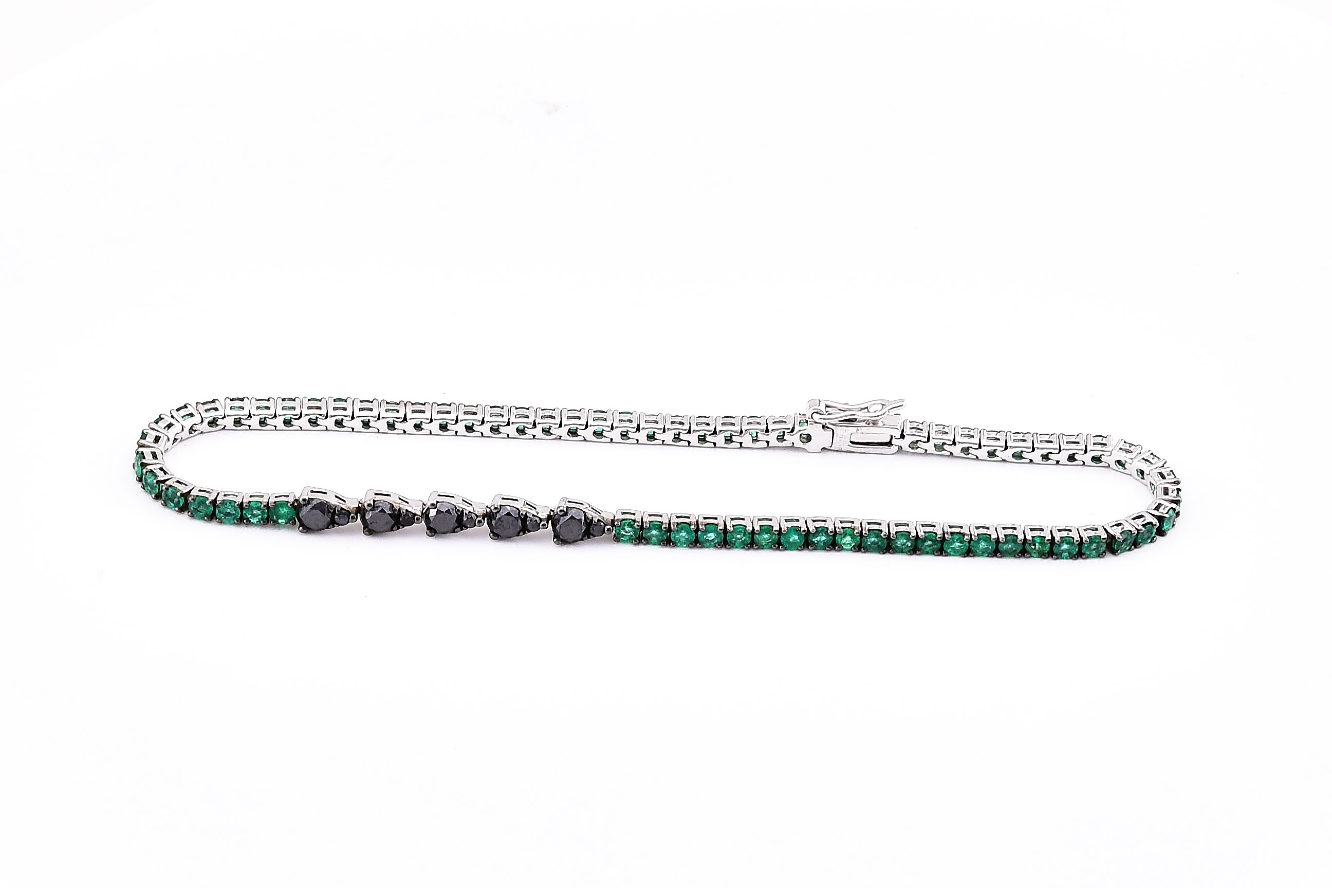 Emerald & Black Diamond White Gold Bracelet