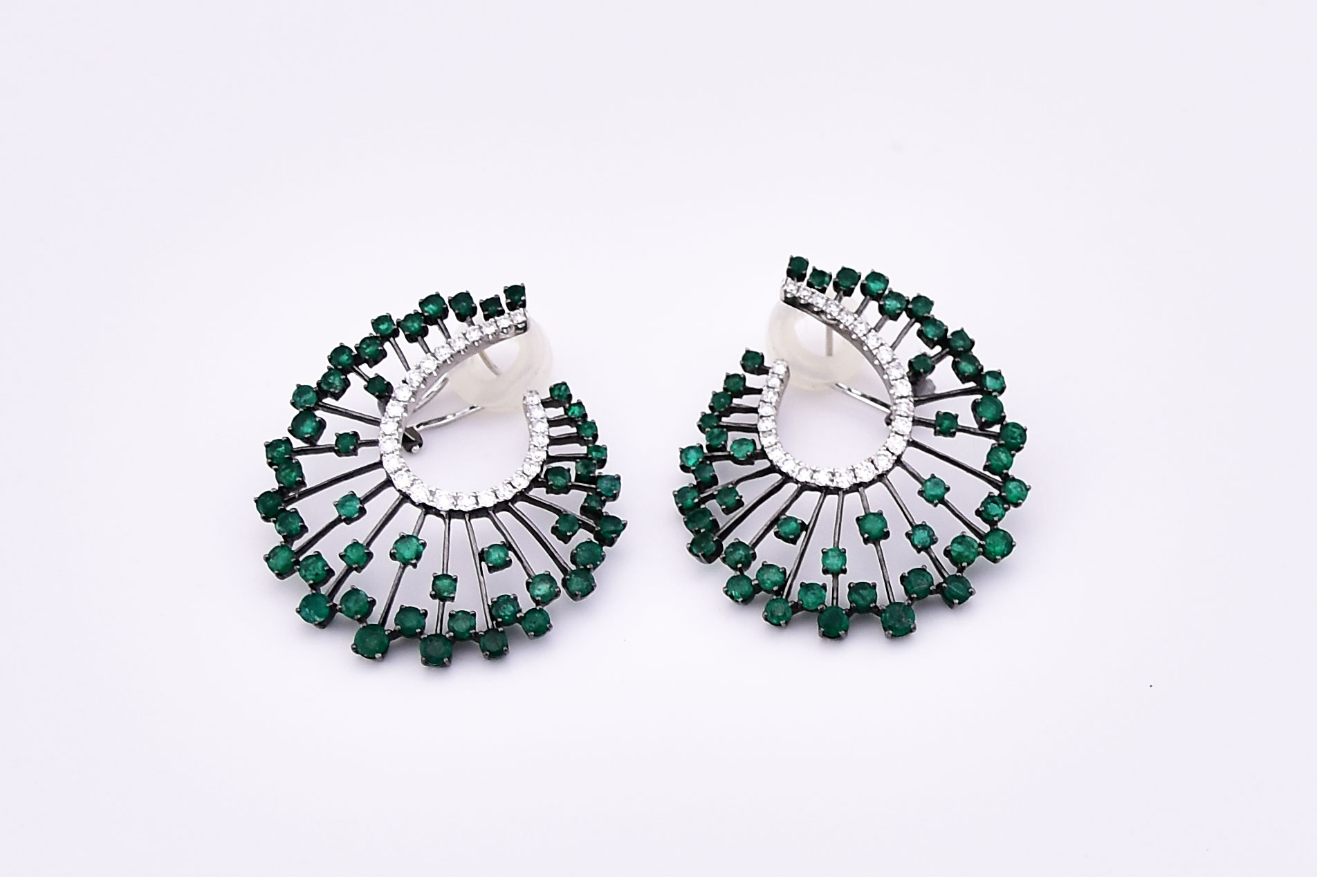 5 Carats Total Weight Emerald Diamond White Gold Earrings