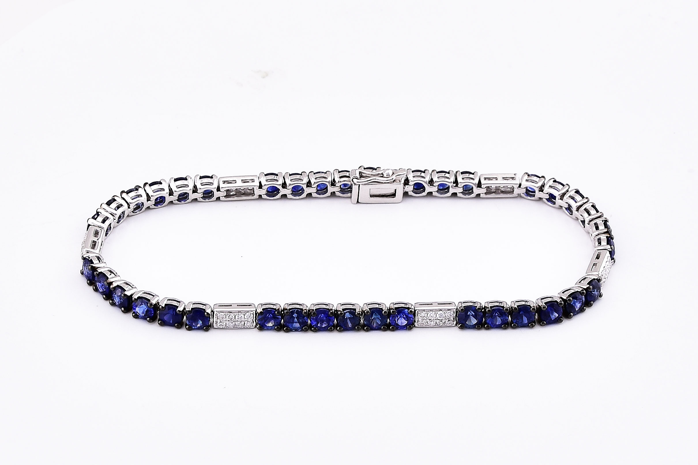 Over 7 Carats Total Weight Sapphire White Gold Bracelet