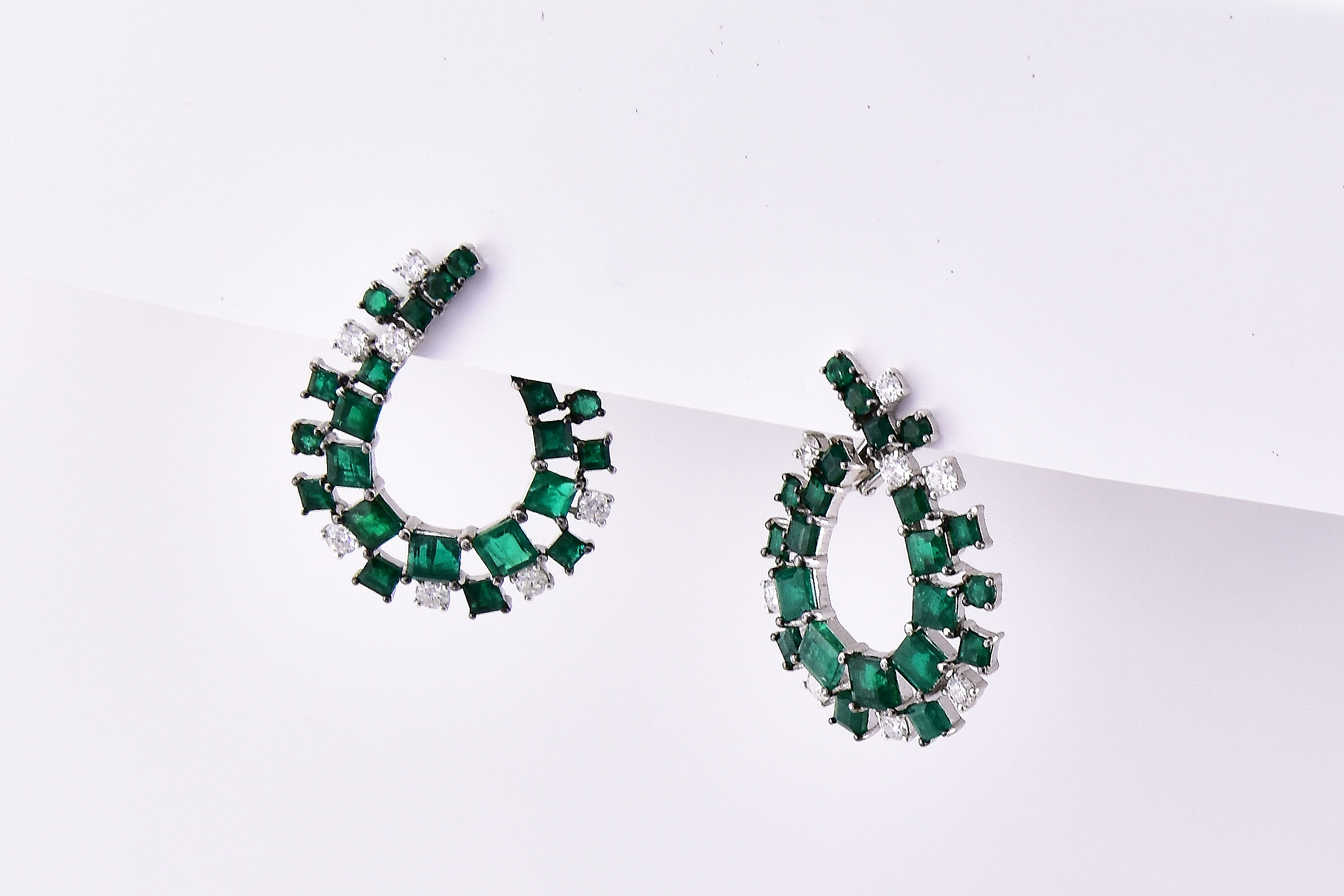 Over 8 Carats Total Weigh Emerald Diamond Earrings
