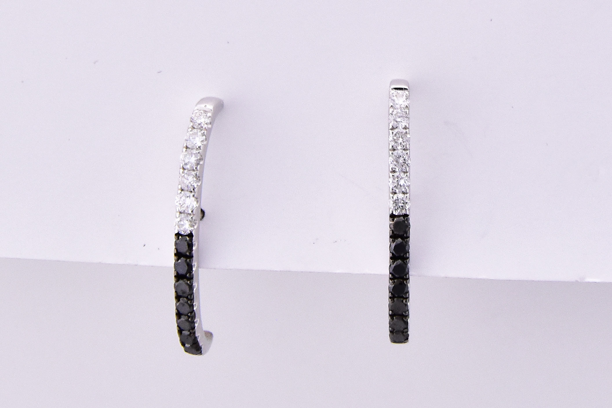 Half Carats Total Weight Black & White Diamond Earrings
