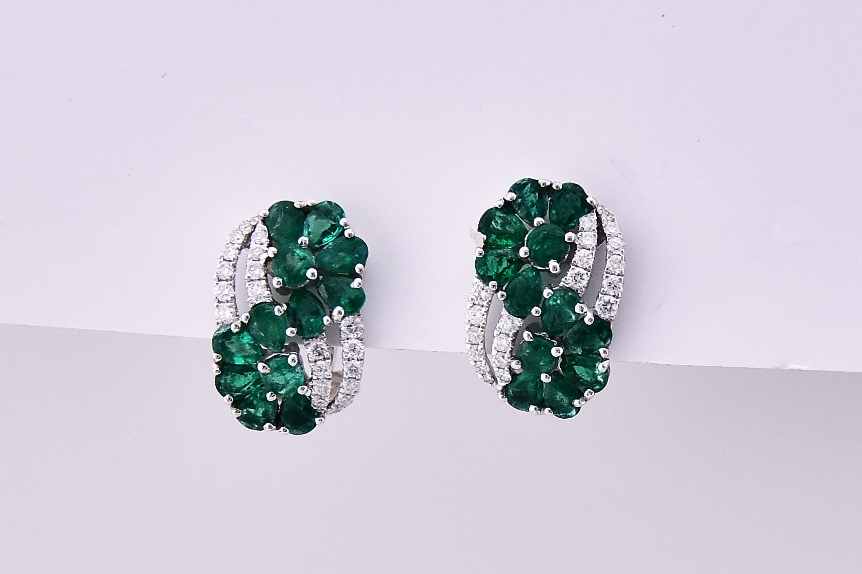 Almost 2 Carats Total Weight Emerald Diamond Earrings