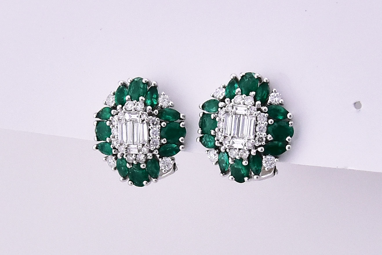 Over 2 Carats Total Weigh Emerald Diamond Earrings