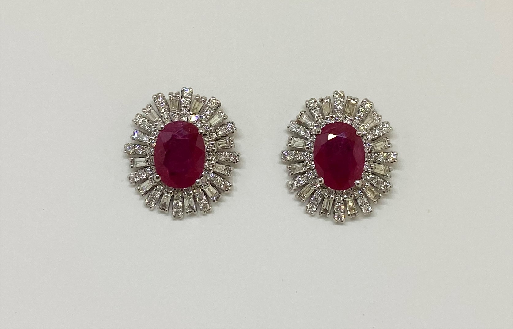 Over 2 Carats Total Weight Ruby Diamond Earrings