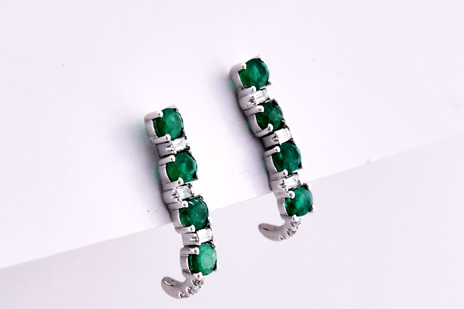 1 Carat Total Weight Emerald Diamond Earrings