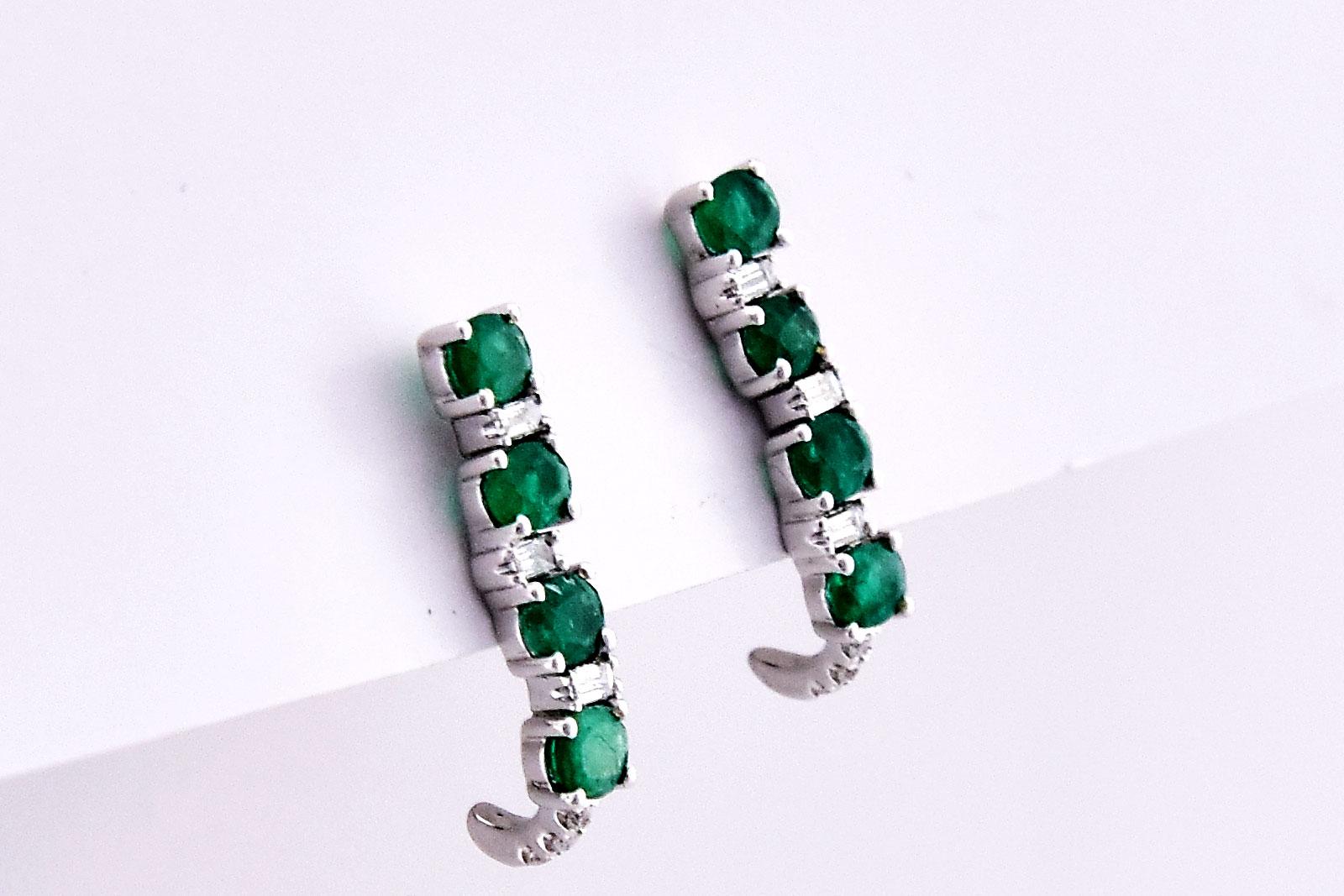 1 Carat Total Weight Emerald Diamond Earrings