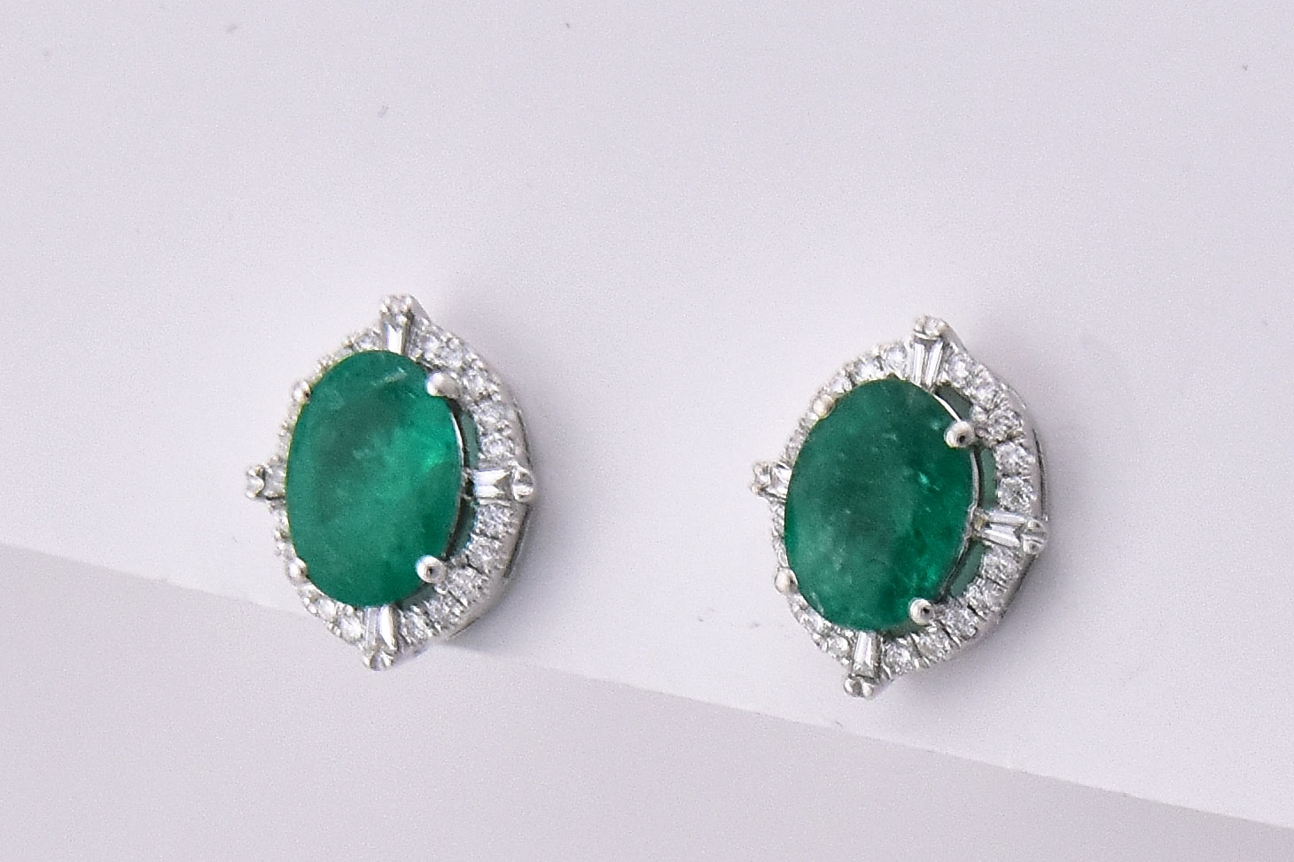 Over 1.50 Carats Emerald Earrings In White Gold