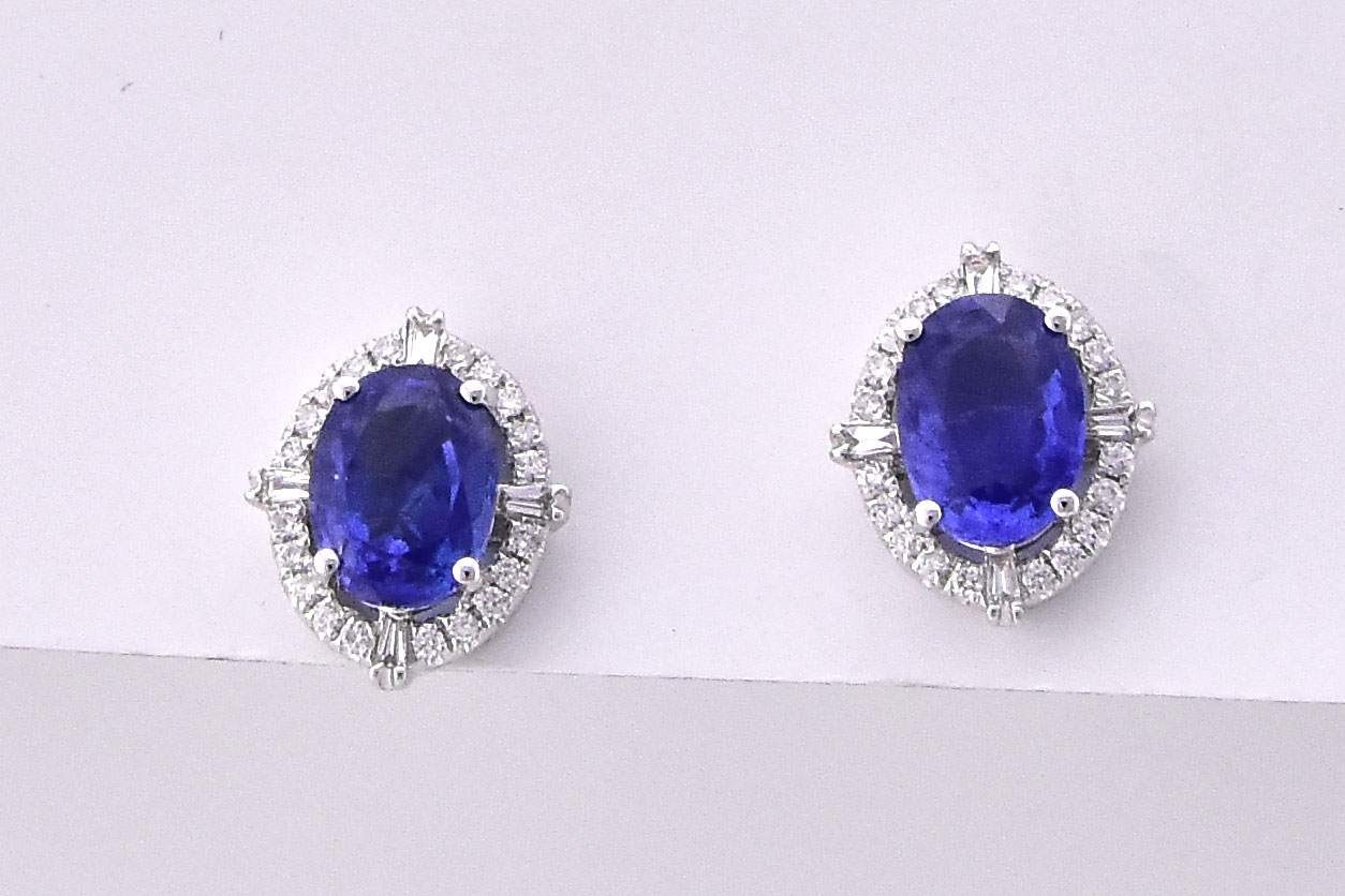Over 2 Carats Sapphire Diamond Earrings