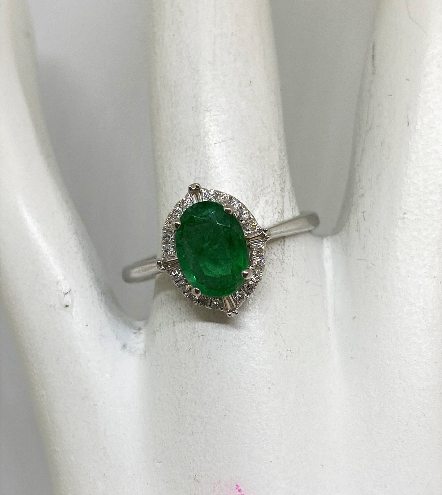 Almost 1 Carat Emerald Diamond Ring