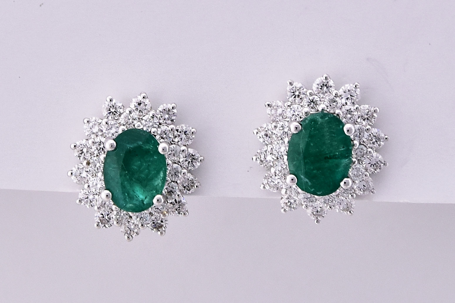 Over 2 Carats Total Weight Emerald Diamond Earrings