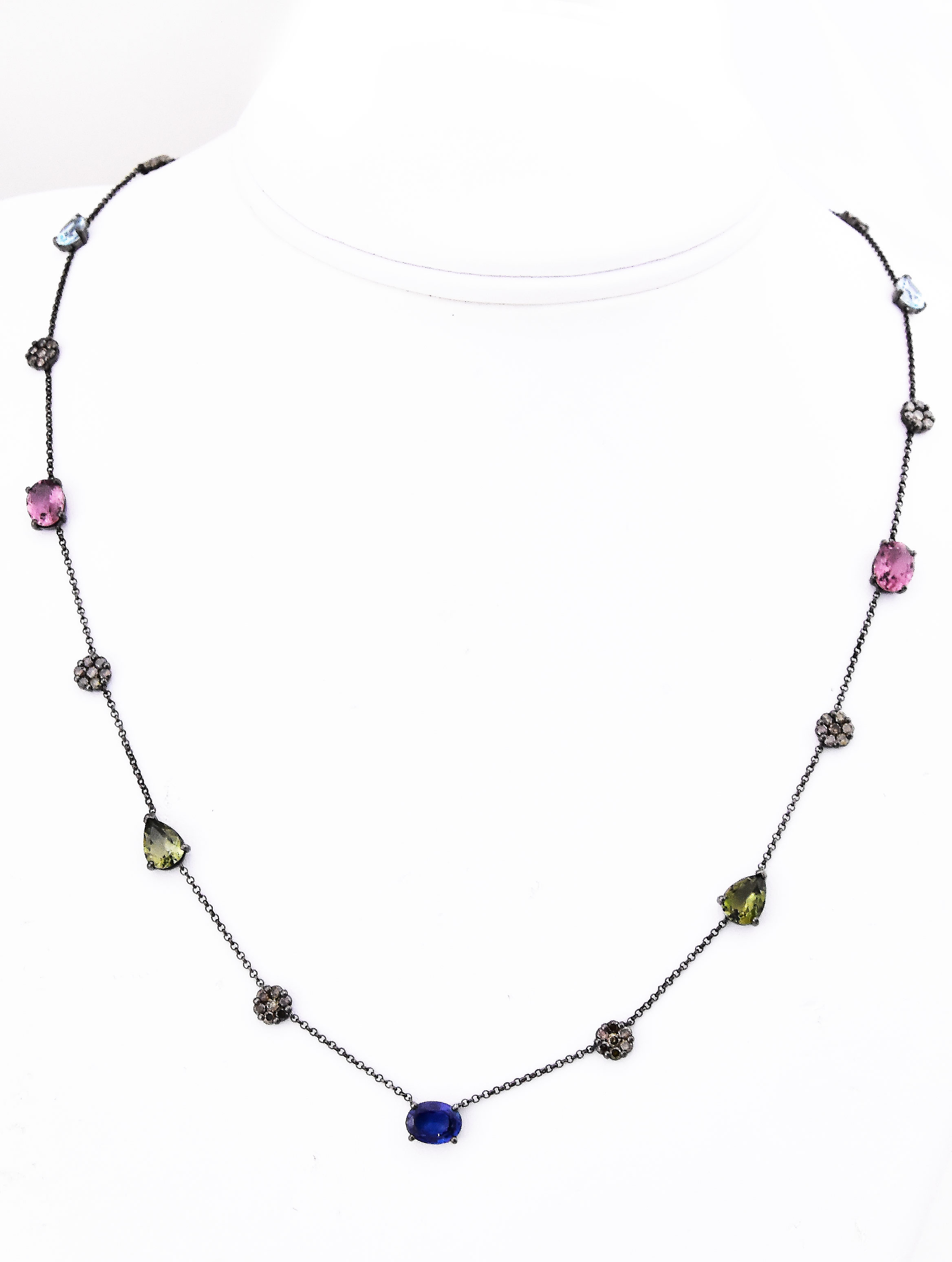 Over 9 Carats Total Weight Mutli-Color Gemstone Necklace