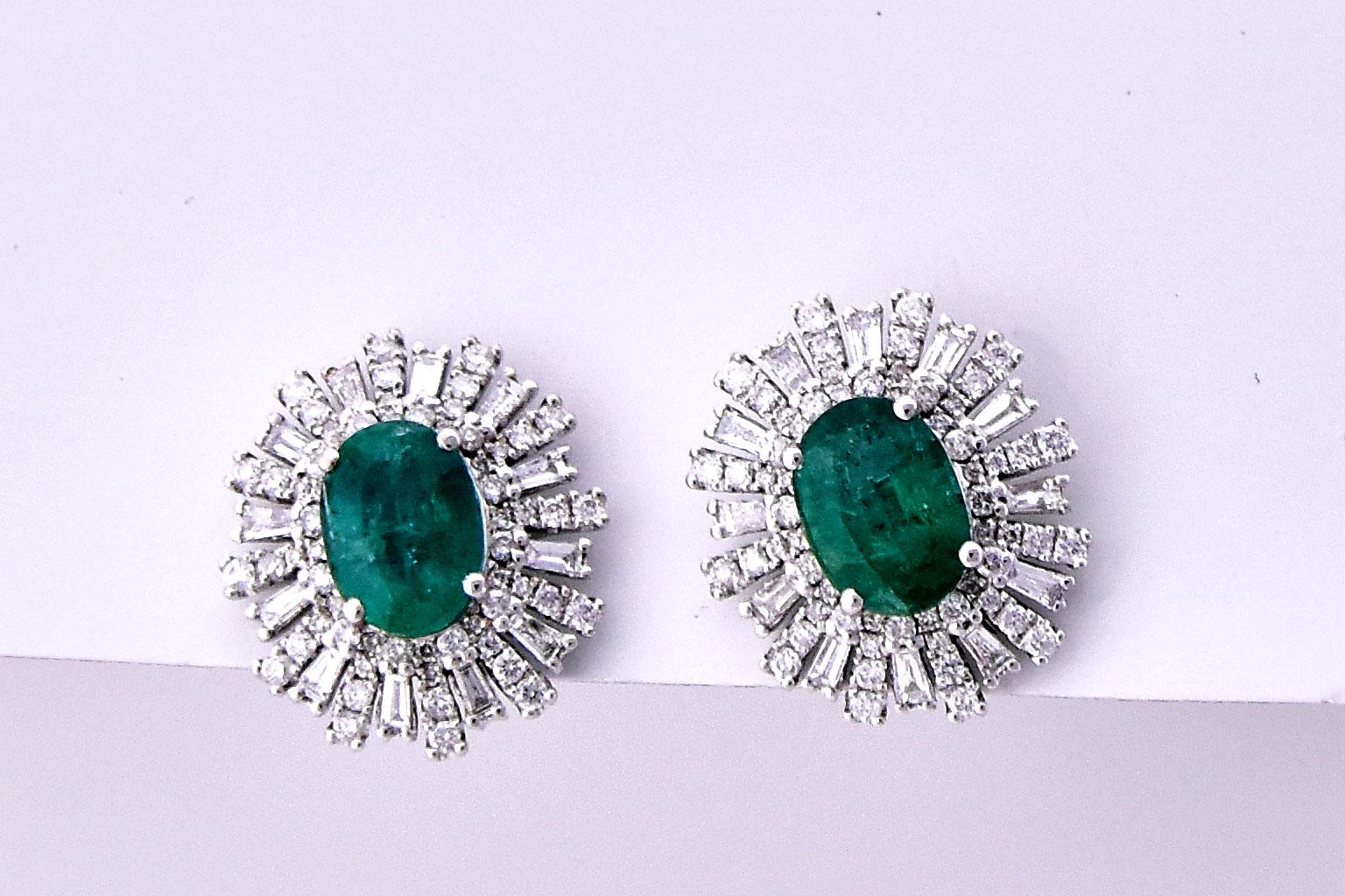Over 2 Carats Emerald & Diamond Earrings