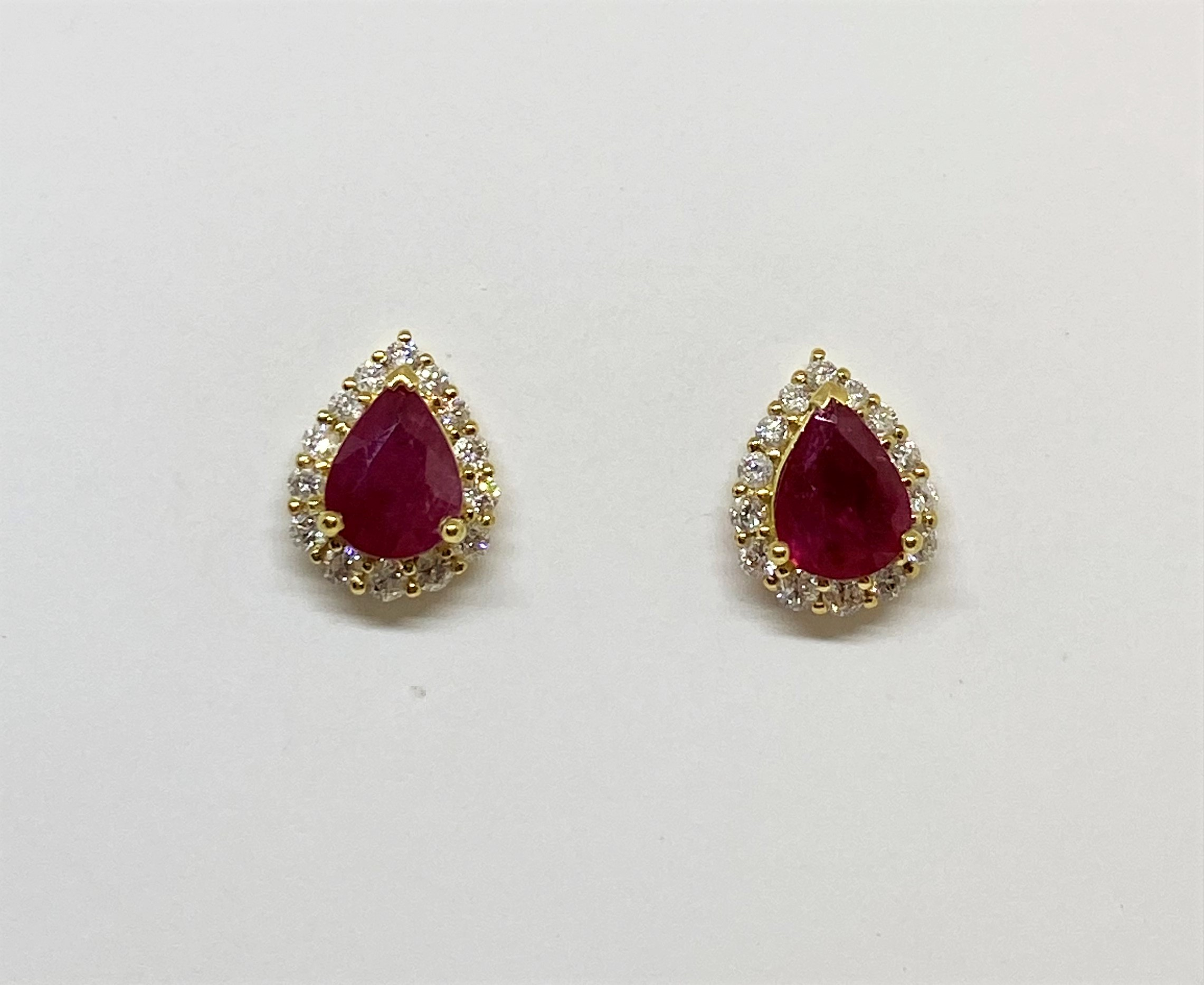 Almost 2 Carats Total Weight Ruby Diamond Earrings