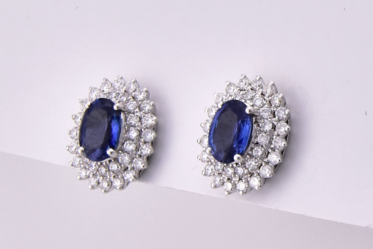 Almost 2 Carats Total Weight Sapphire Diamond Earrings