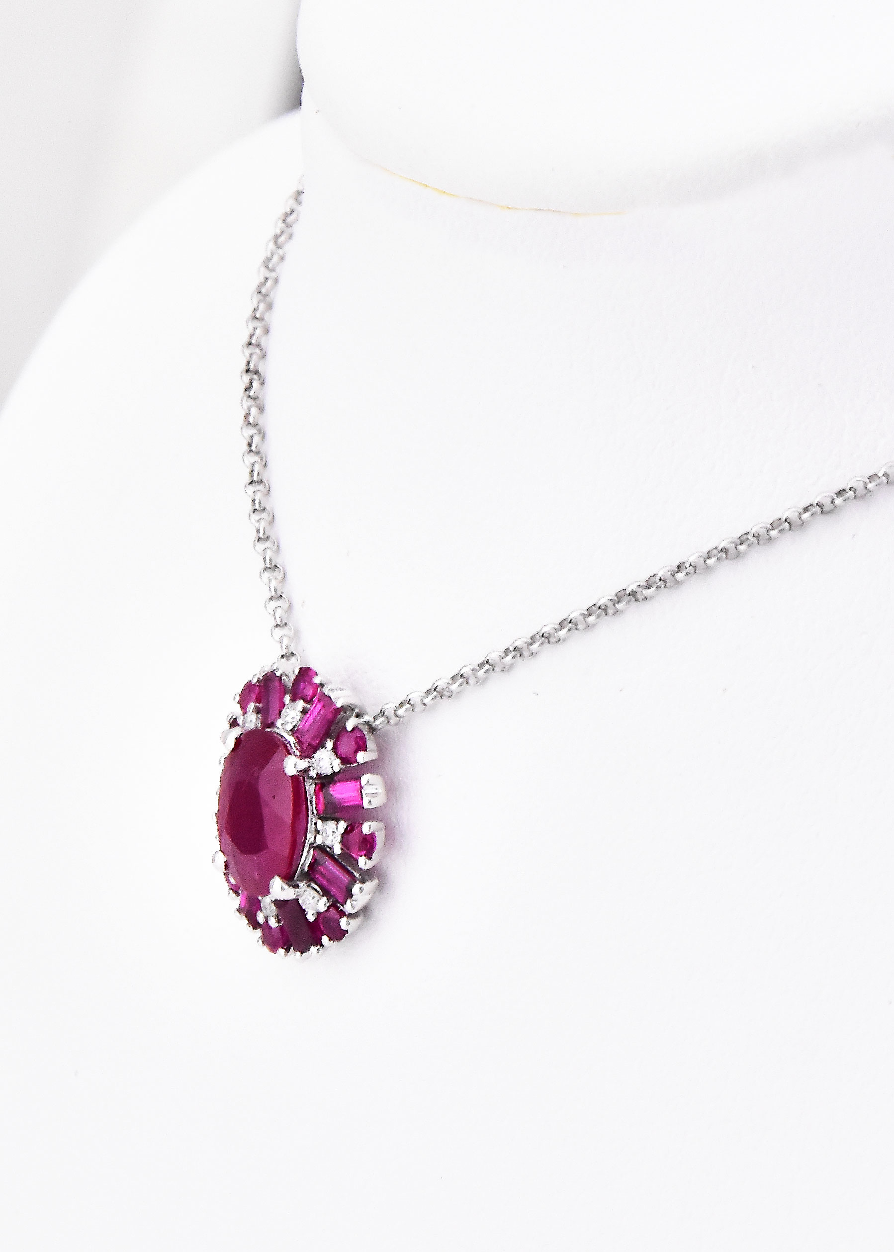 Over 1.50 Carats Total Weight Ruby & Diamond Necklace