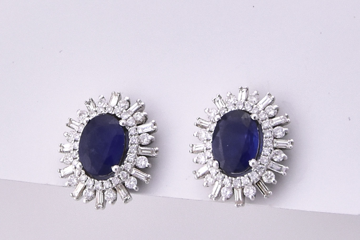 Over 2 Carats Total Weight Sapphire Diamond Earrings
