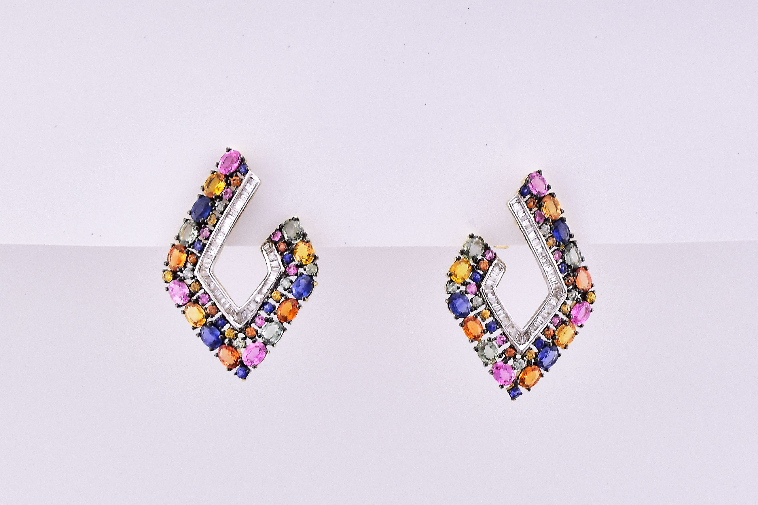 Over 7 Carats Total Weight Multi-Color Sapphire Yellow Gold Earr