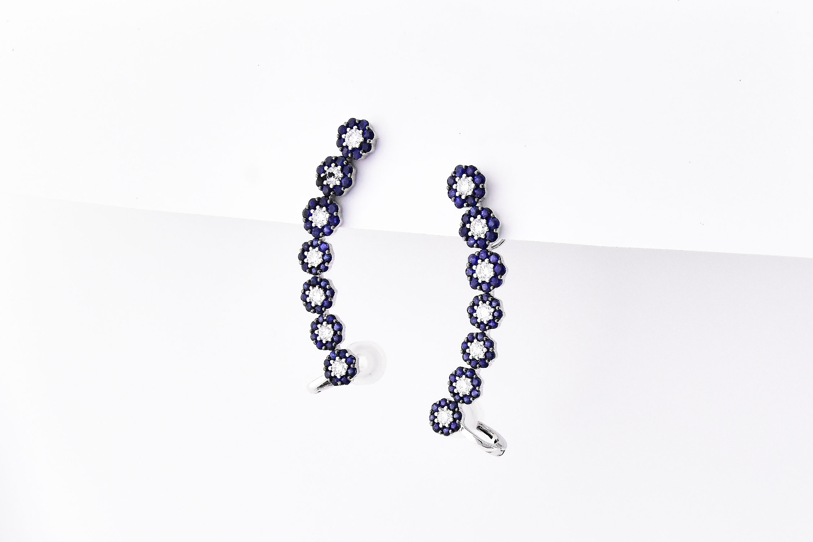 Sapphire & Diamond White Gold Ear Crawlers
