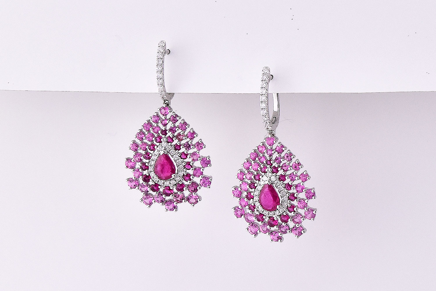 Over 3 Carats Pink Sapphires & Ruby & Diamond Earrings