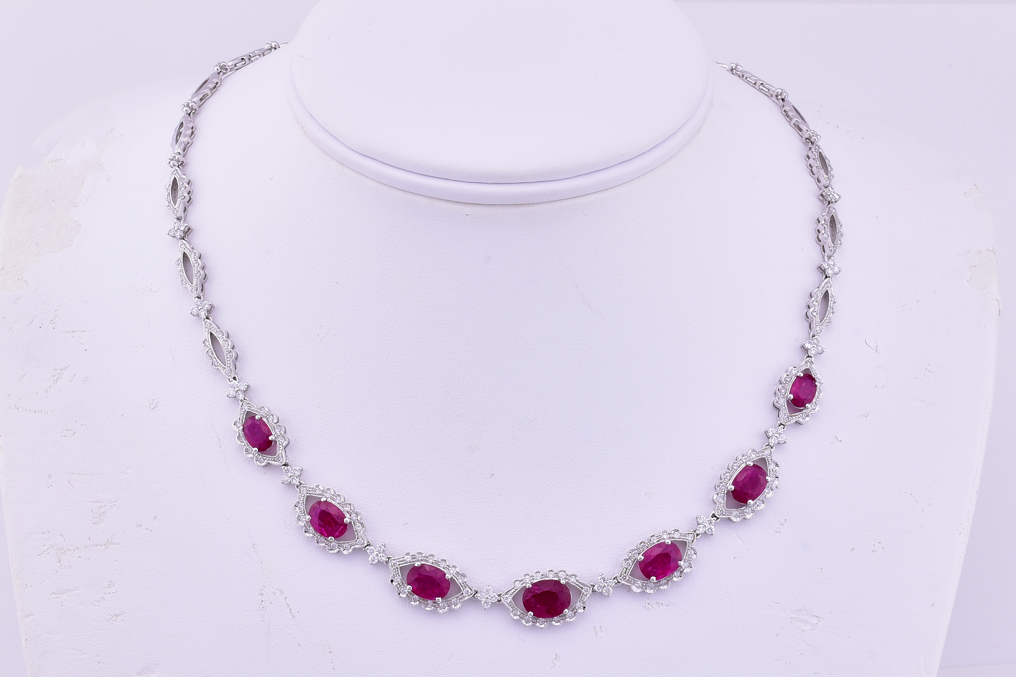 Almost 9 Carats Total Weight Ruby Diamond Necklace