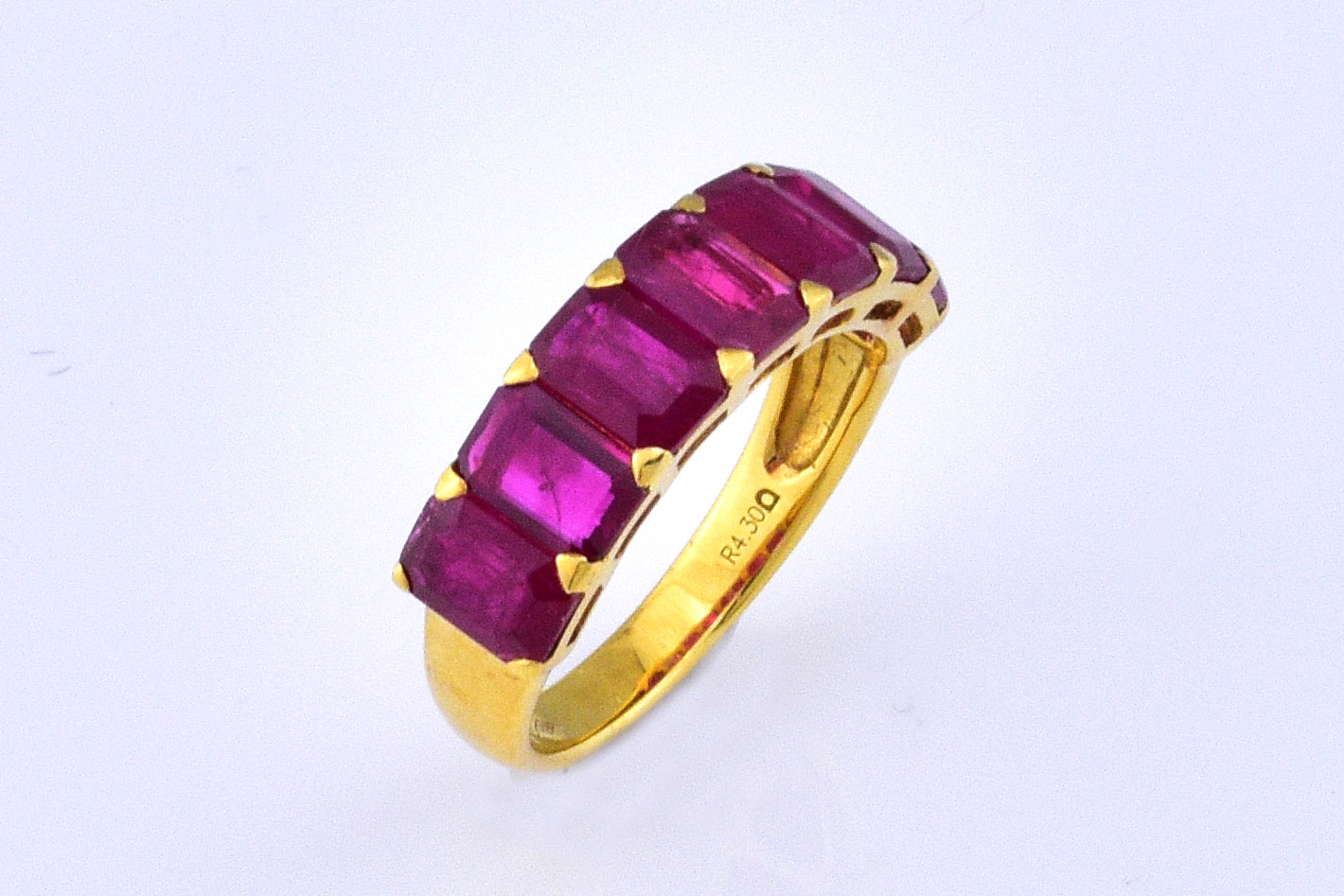 Over 4 Carats Total Weight Ruby Ring In Yellow Gold
