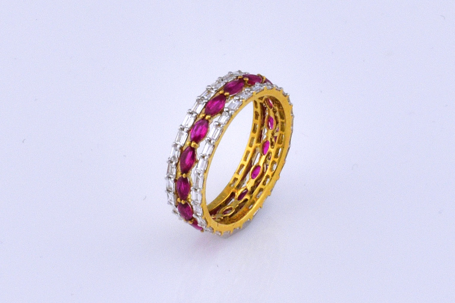 1.50 Carats Total Weight Ruby Diamond Eternity Band
