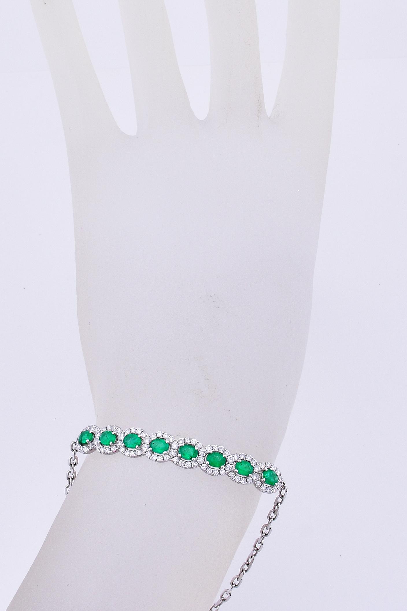 Almost 1 Carat Total Weight Emerald Slip On Bracelet