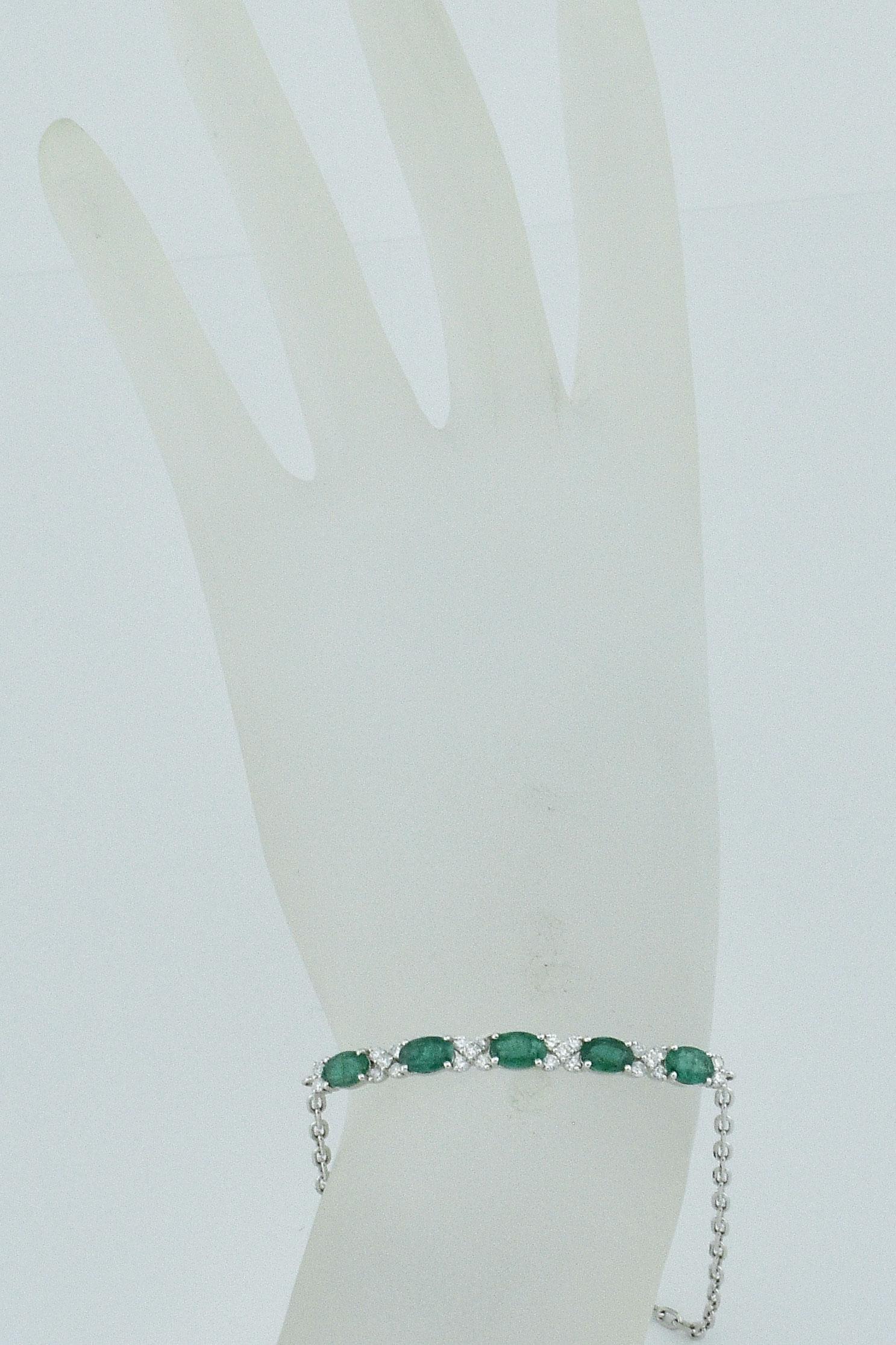 White Gold Slip On Emerald Diamond Bracelet