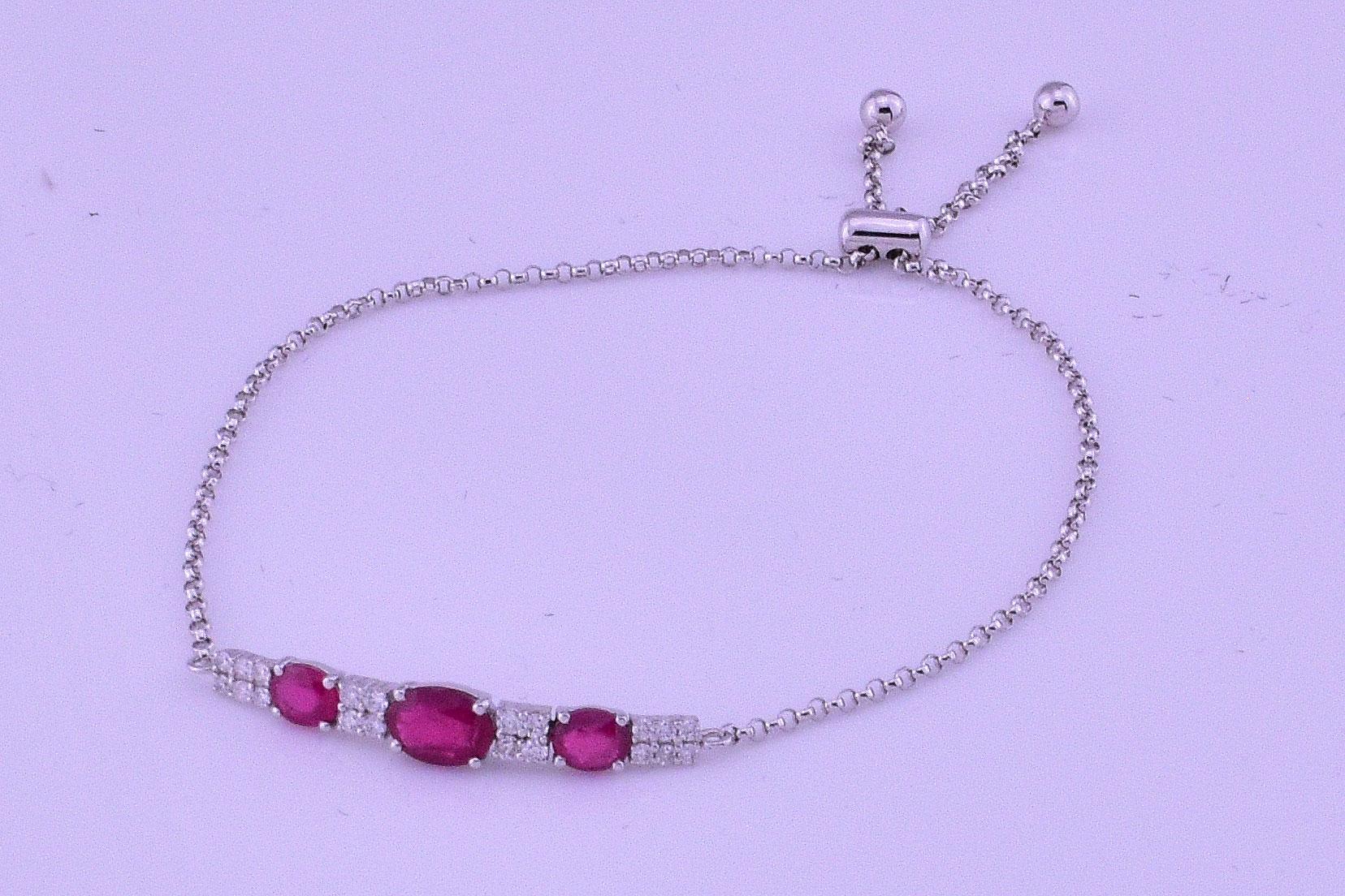 Over 1.50 Carats Ruby Slip On Bracelet