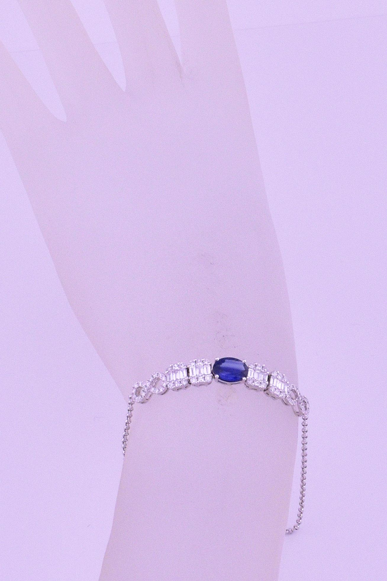 Over 1 Carat Sapphire & Diamond Slip On Bracelet