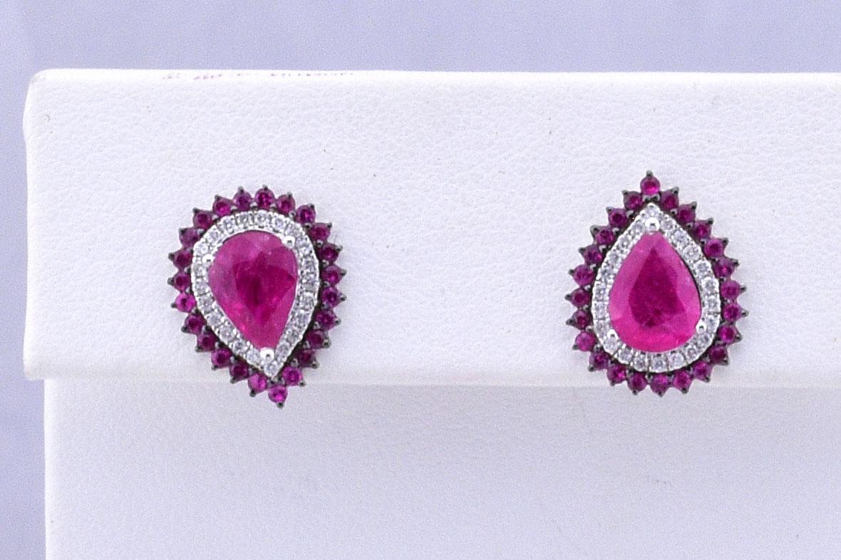 Over 2.50 Carats Ruby & Diamond Earrings