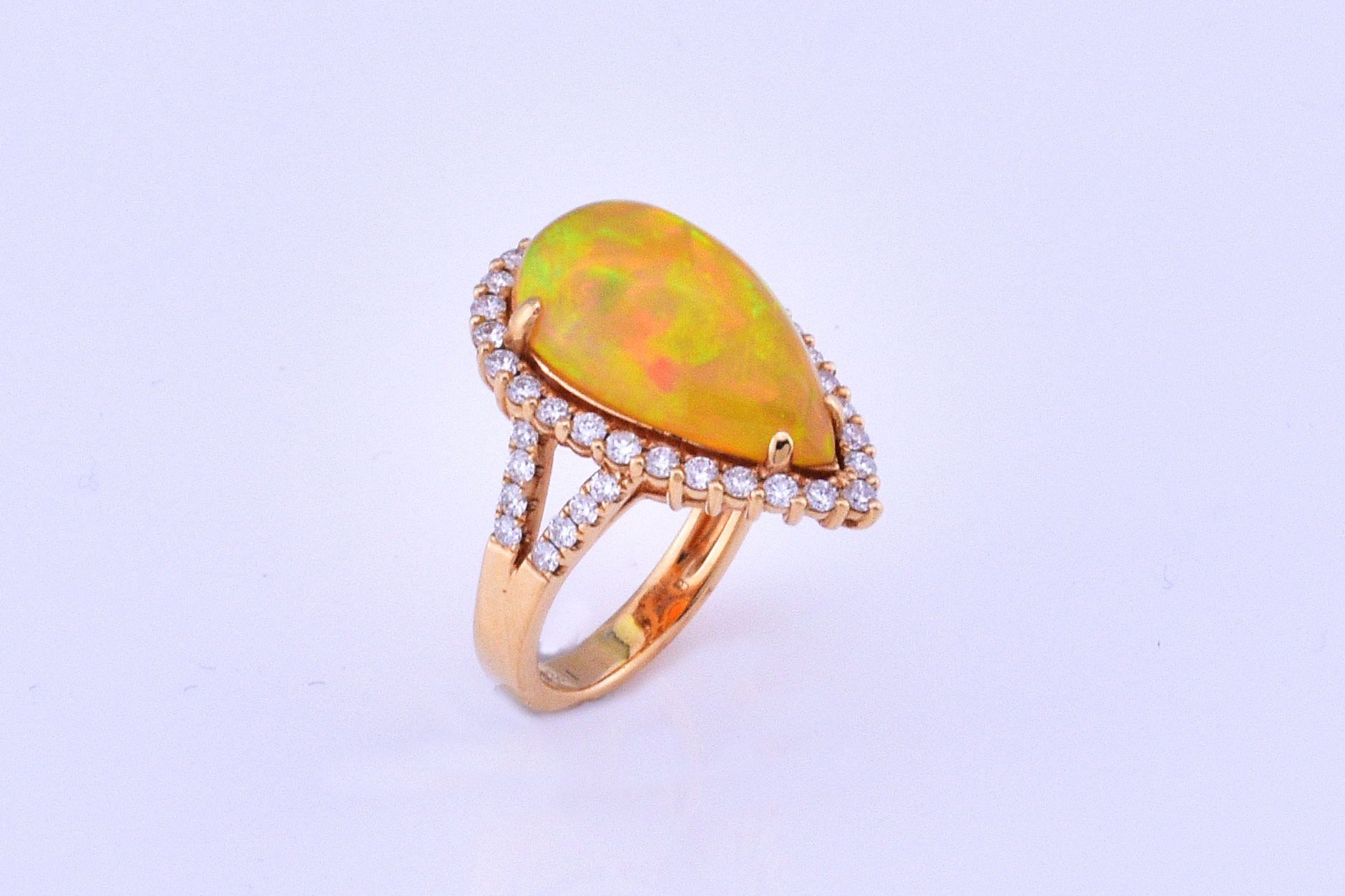 Over 5 Carats Opal Diamond Yellow Gold Ring