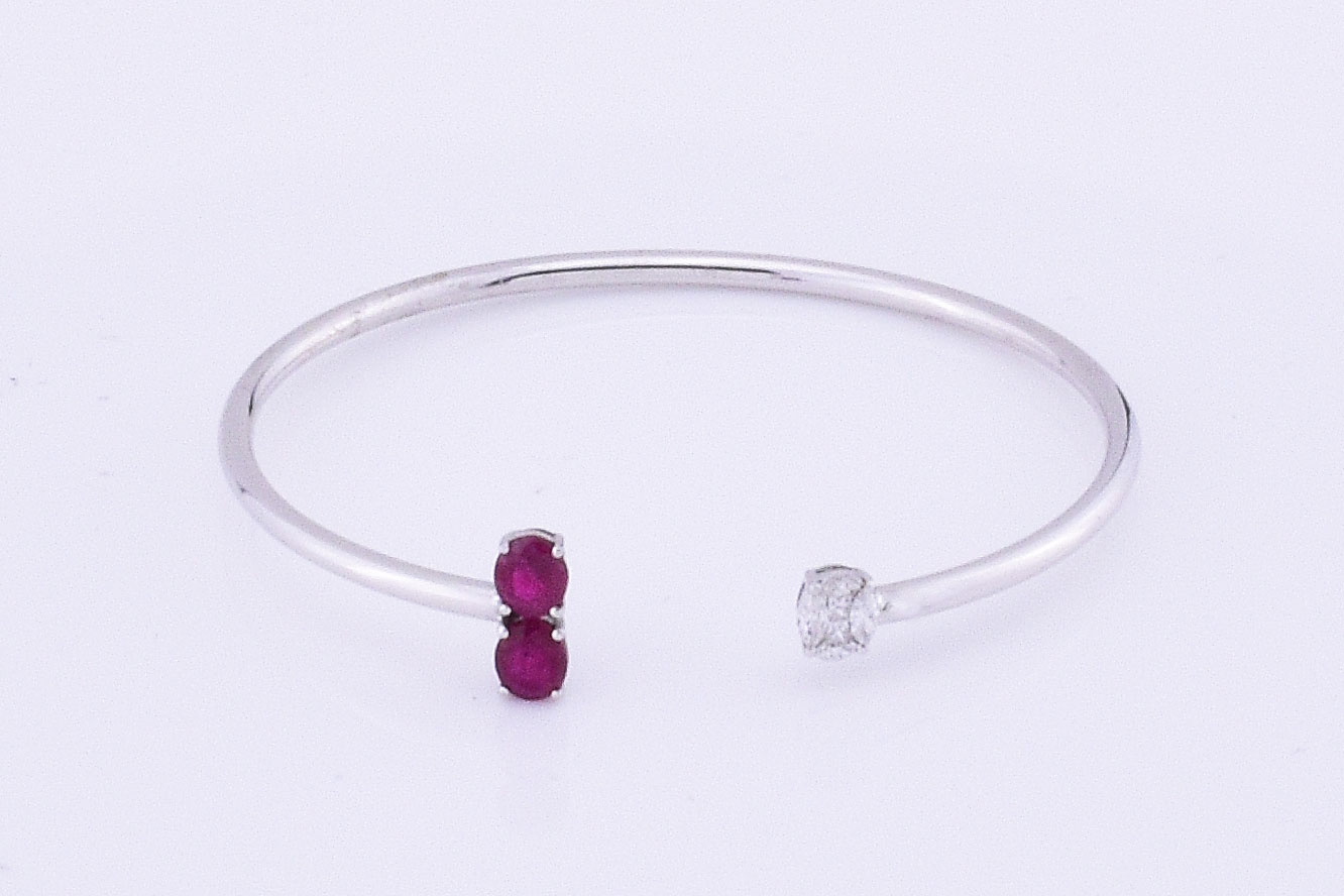 Almost 1.50 Carats Total Weight Ruby Soft Bangle