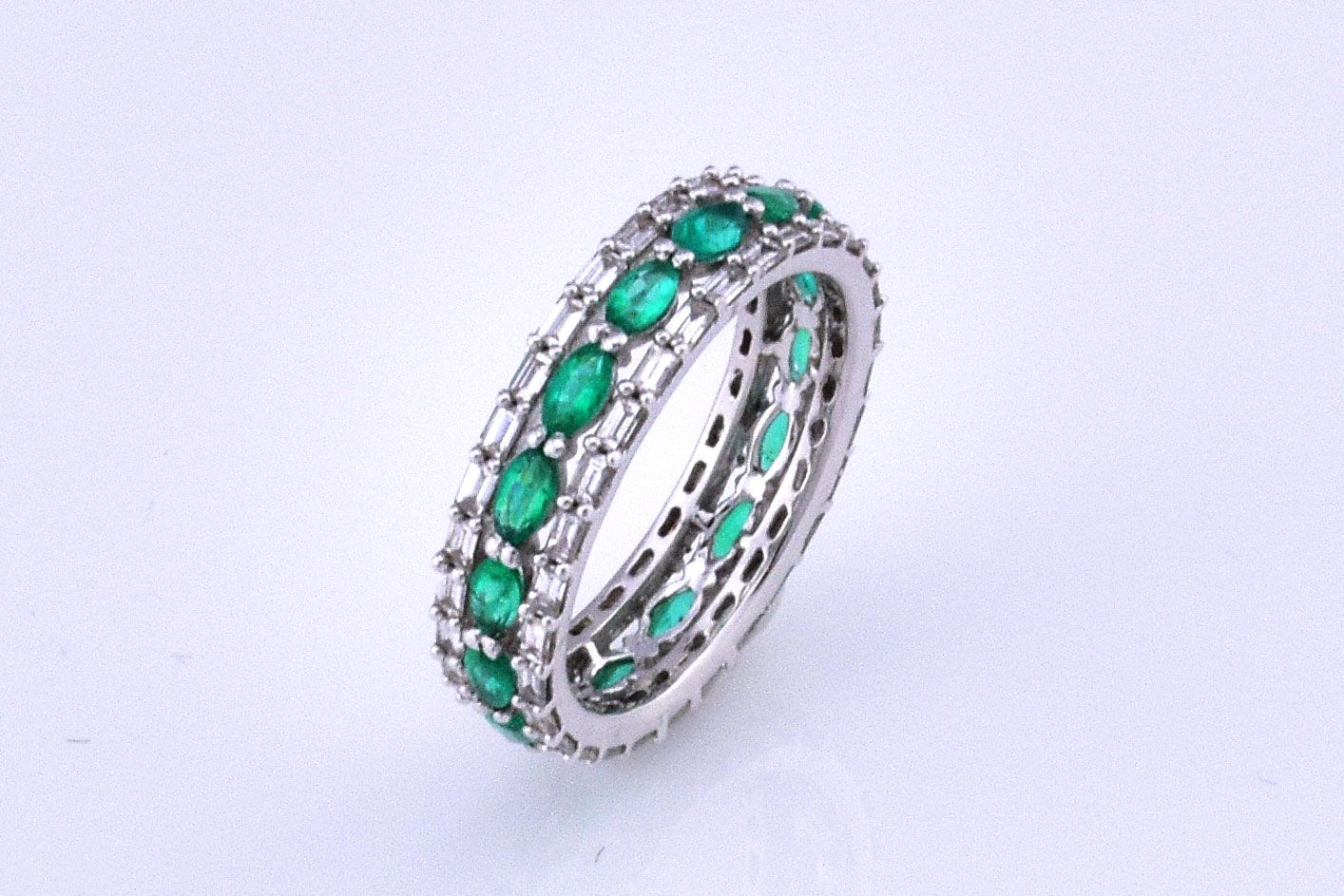 Over 1 Carat Total Weight Emerald Diamond Eternity Band