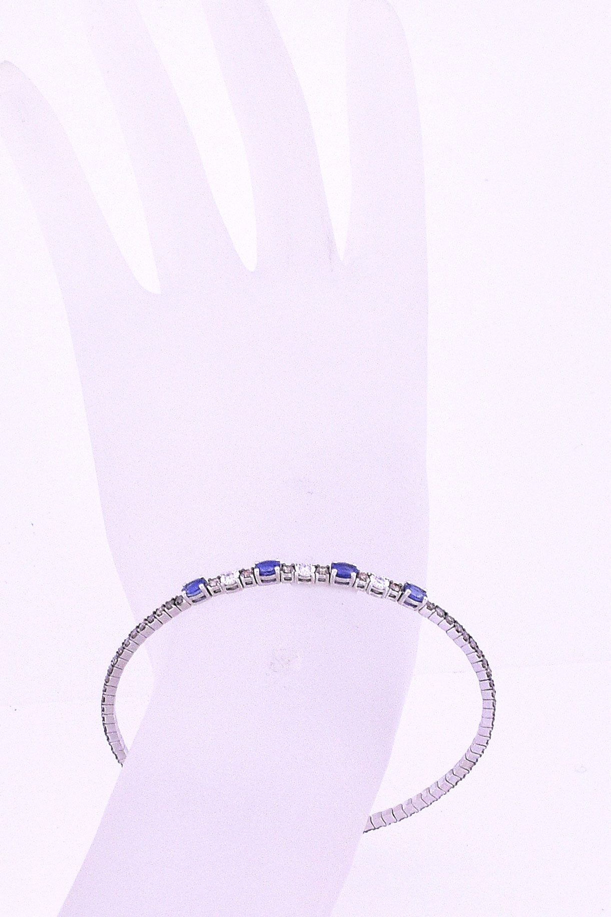 1 Carat Total Weight Soft Open Bangle In White Gold