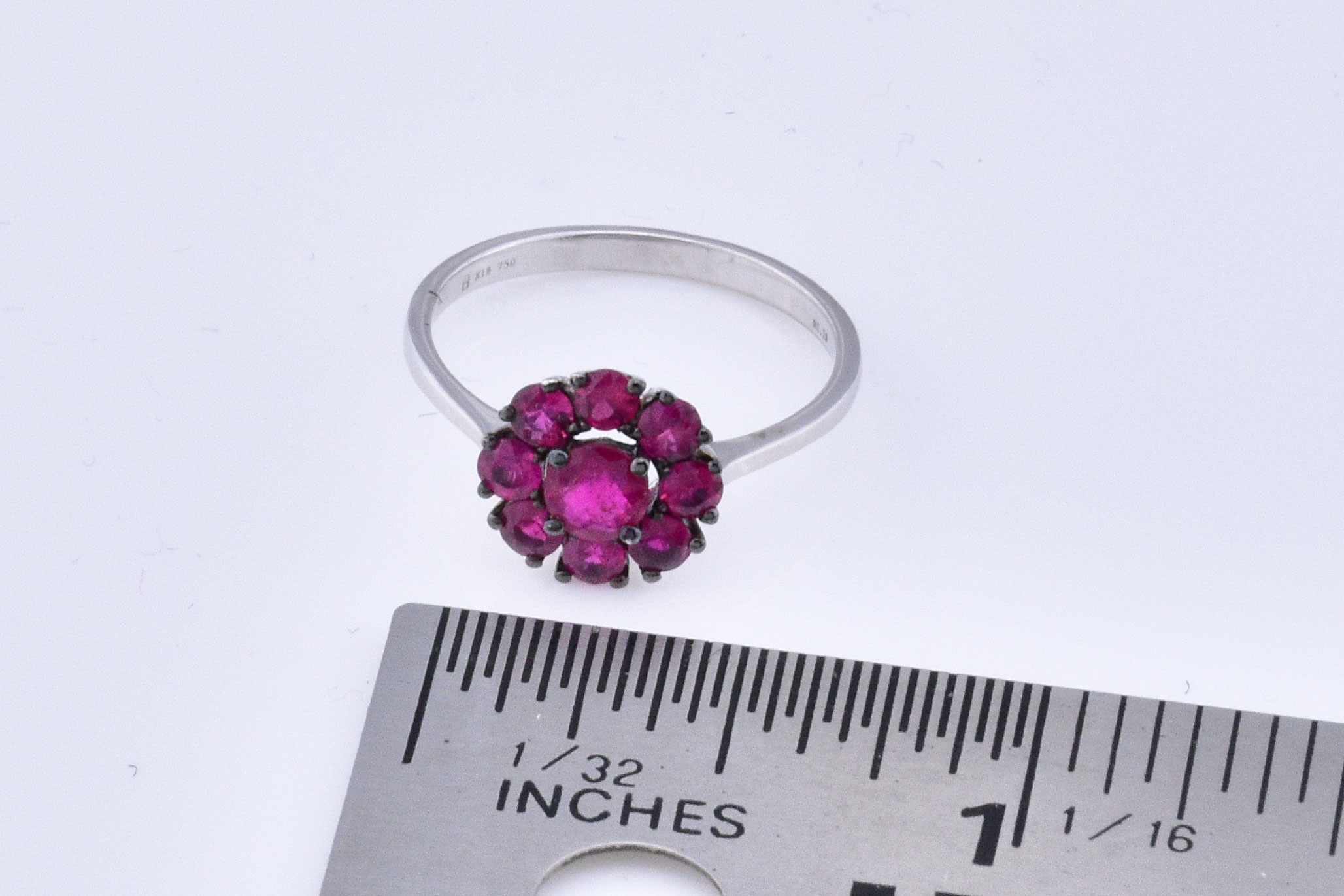 Over 1 Carat Total Weight Ruby White Gold Ring