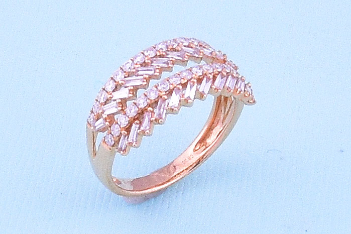 Almost A Carat Total Weight Rose Gold Diamond Ring