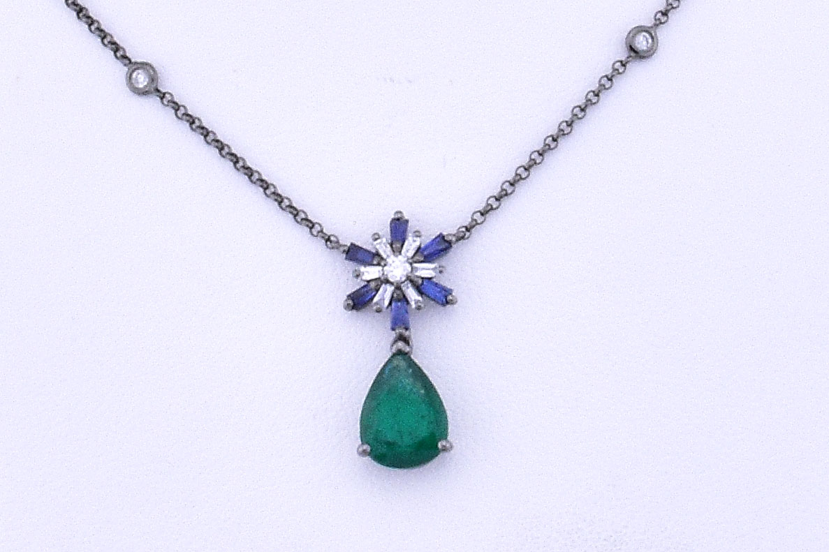 Emerald Sapphire Diamond Necklace