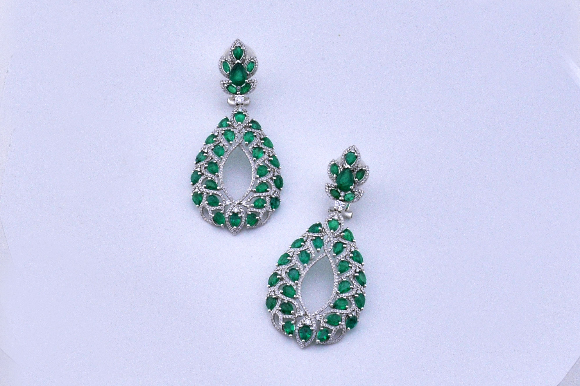 Over 8 Carats Total Weight Emerald Diamond Dangling Earrings