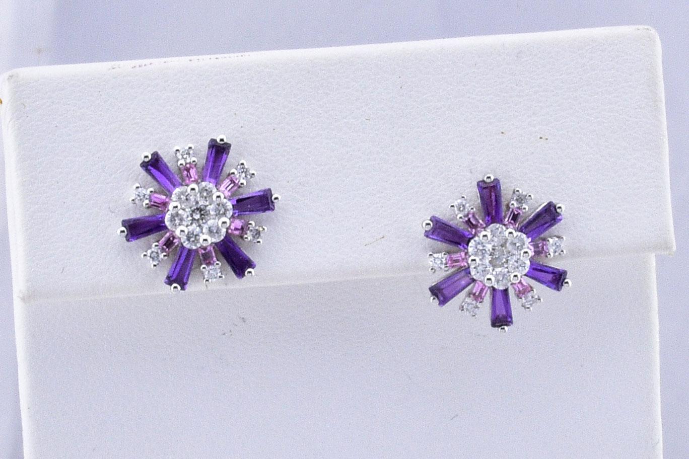 Star Design Amethyst Diamond Earrings