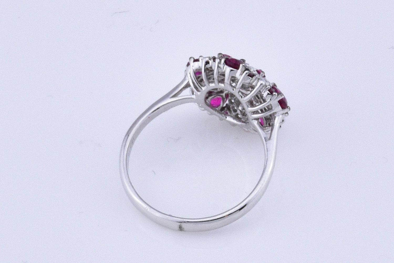 White Gold Floral Design Ruby Diamond Ring