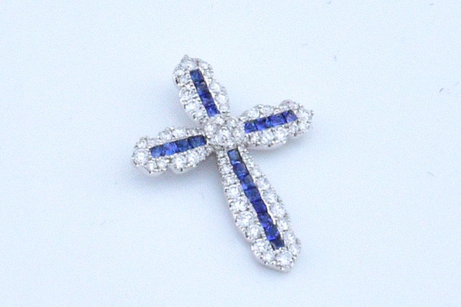 Over Half Carats Total Weight Sapphire Cross Pendant