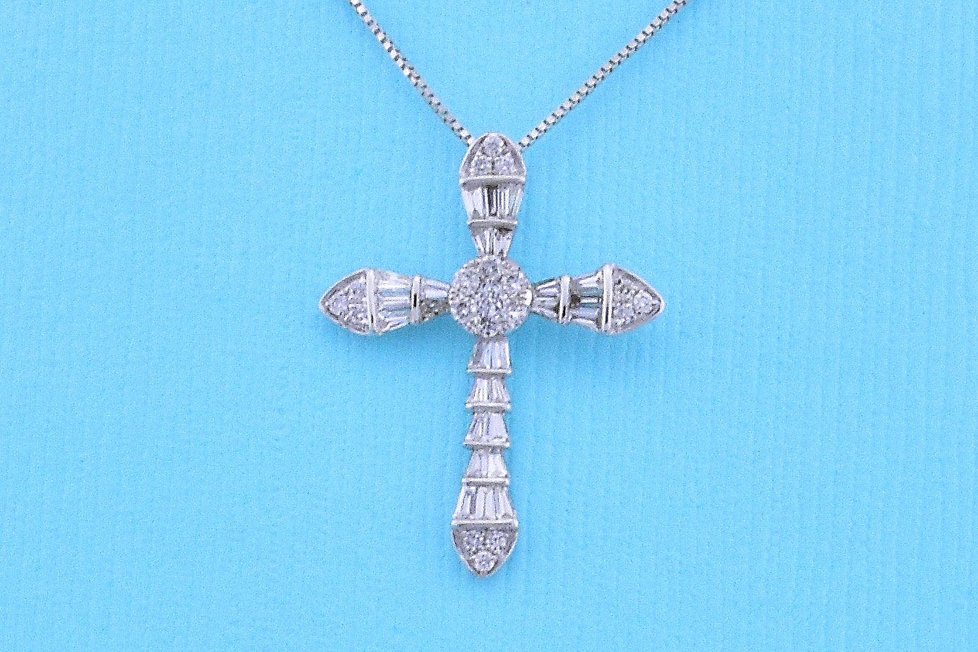 Almost Half Carats Total Weight Diamond Cross Pendant