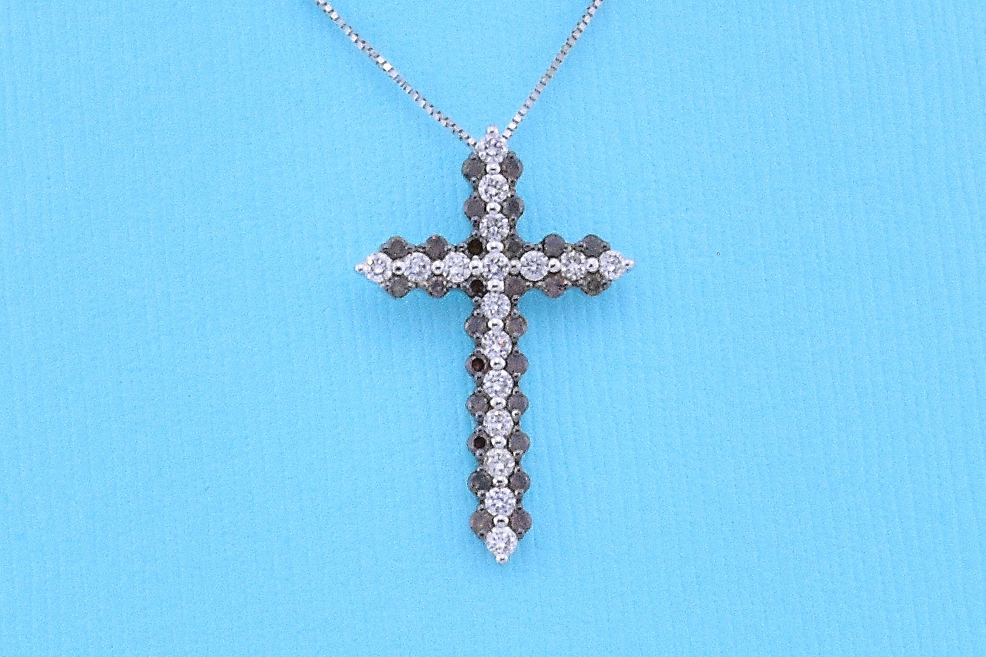 Almost 1 Carat Total Weight White & Brown Diamond Cross Pendant