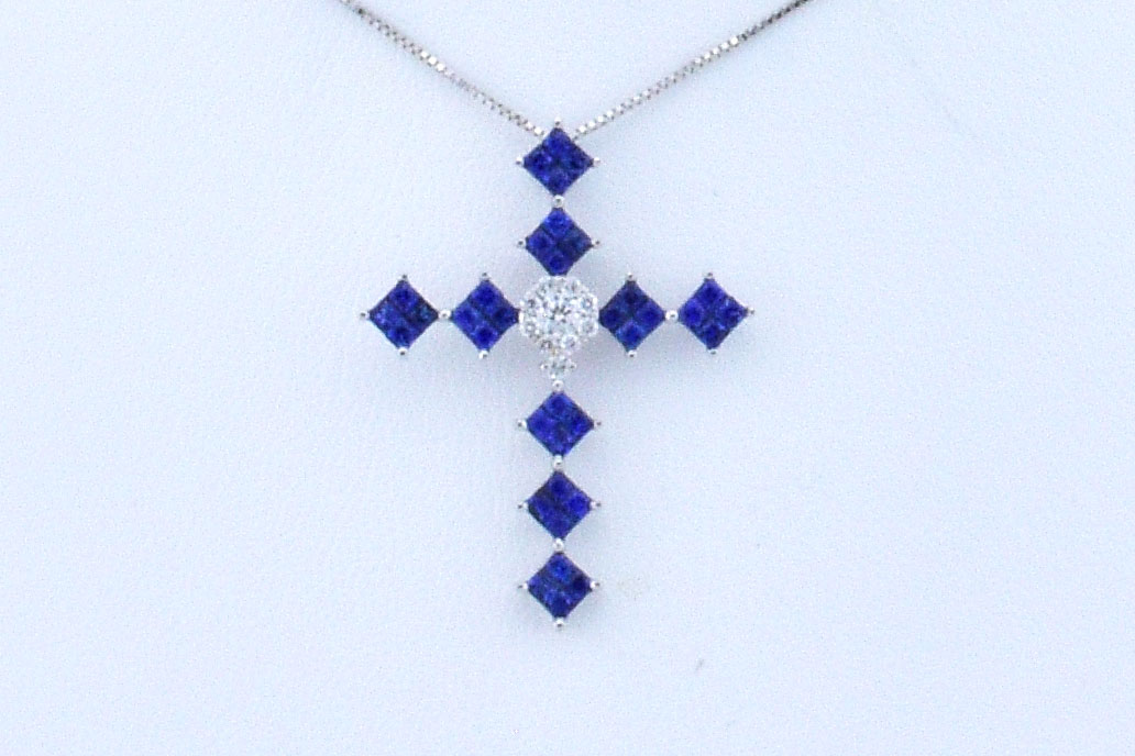 Almost 1 Carat Total Weight Sapphire Cross Pendant