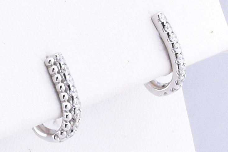 White Gold Half Hoop Diamond Earrings