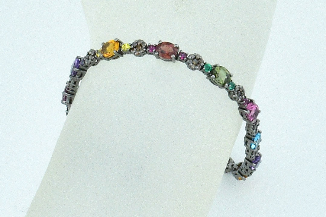 Over 5 Carats Total Weight Multi-Color Gemstone Bracelet