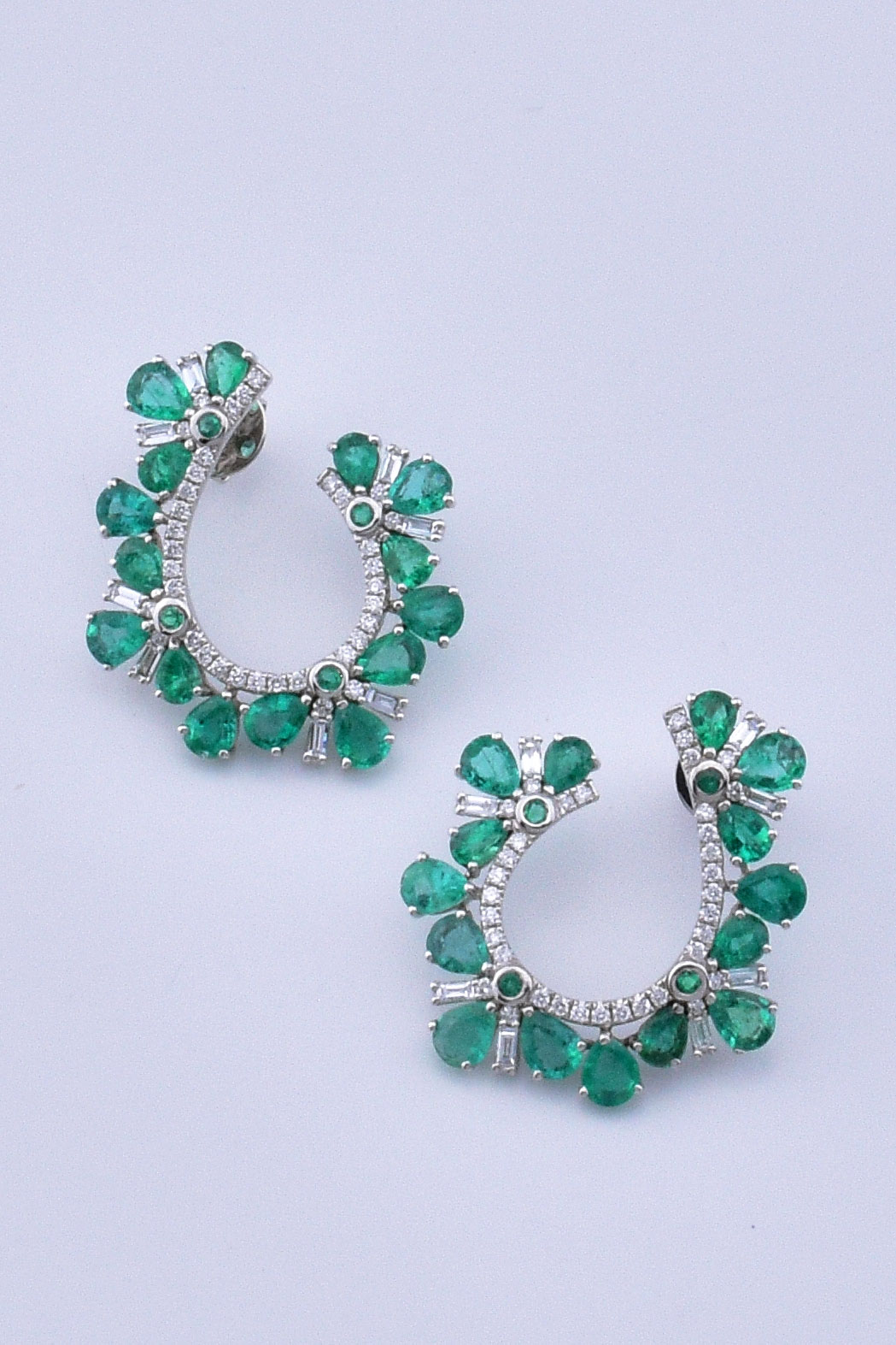 """C"" Shape 5 Carats Emerald Diamond White Gold Earrings"