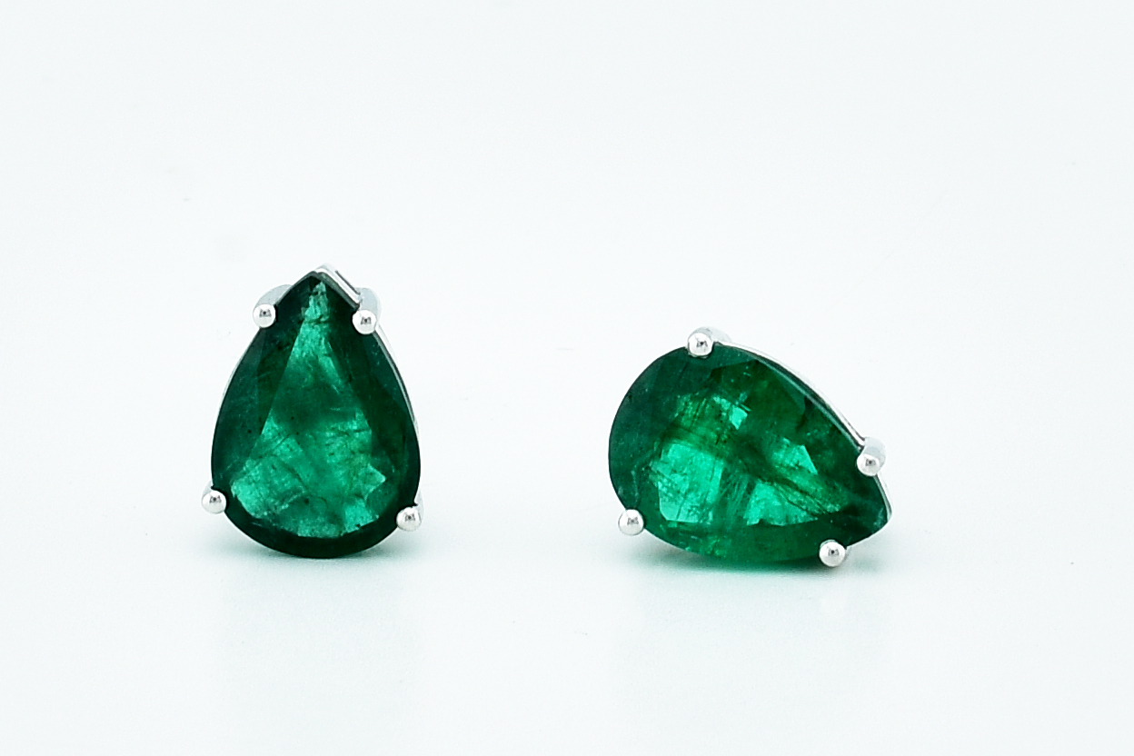 Over 4 Carats Total Weight Emerald Stud Earrings