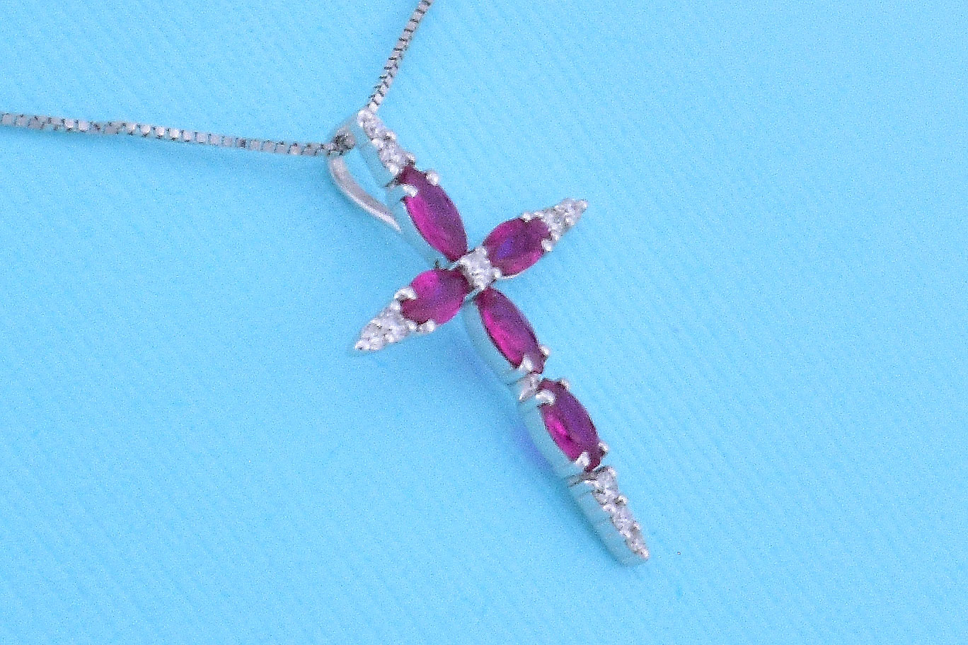 Cross Pendant With Ruby And Diamonds